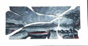 Marina bianco /nera con barca (90x45 cm.)